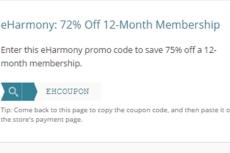 eharmony monthly promo code